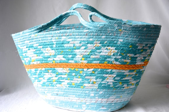 Baby Boy Basket, Unique Fabric Moses Basket, Tote Bag, Handmade Toy Basket, Nursery Aqua Bin, Unique Rope Basket, Project Bag