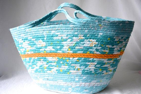 Baby Toy Basket, Aqua Blue Moses Basket, Tote Bag, Handmade Quilted Basket, Nursery Bin, Unique Rope Basket, Craft Project Bag