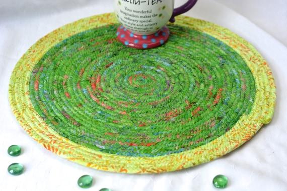 "Summer Table Trivet, 14"" Place Mat, Handmade Batik Hot Pad, Gorgeous Fabric Trivet, Kelly Green Table Topper Runner, Coiled Rope Mat"