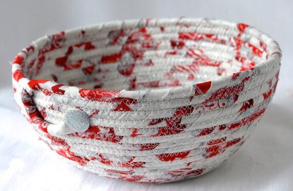 Silver Holiday Decor, Handmade Display Bowl, Christmas Fabric Bowl, Potpourri Bowl,  Elegant Holiday Basket, Artisan Quilted