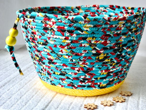 Turquoise Serpa Basket, Handmade Towel Basket, Receptacle, Paper Recycle Bin, Unique Shawl Holder, Storage Organizer, Yarn Holder