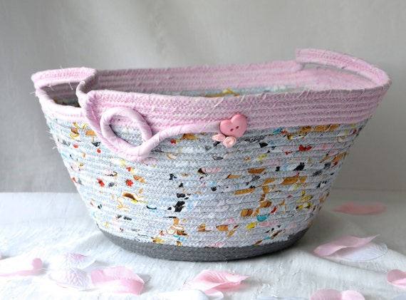 Grey Girl Basket, Handmade Baby Shower Gift Basket, Girl Nursery Decor Basket, Gray and Pink Fabric Basket, Diaper Bin, Doll Bed