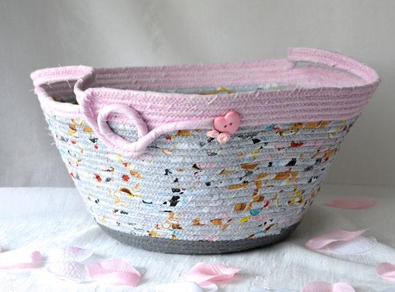 Grey Gift Basket, Handmade Baby Shower Gift, Girl Nursery Decor Basket, Gray and Pink Fabric Basket, Diaper Bin, Doll Bed