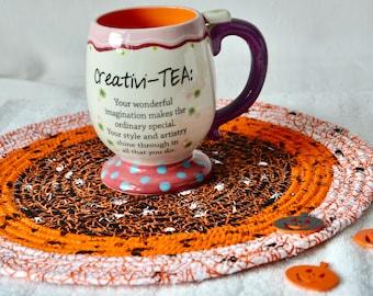 "Halloween Place Mat, Fall Orange Decoration, 1 Handmade Halloween Trivet, 12""  Place Mat, Fun Spider Web Table Mat, Hot Pad"