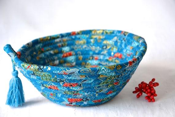 Azure Tassel Basket, Lovely Yarn Bowl, Handmade Key Holder, Hand Coiled Rope Basket, Pretty Ring Dish, Key Tray