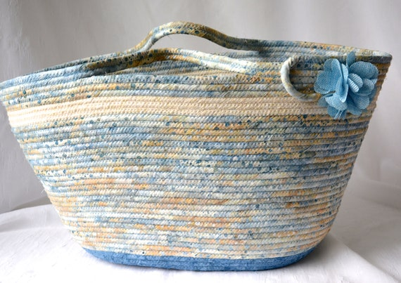 Knitting Project Bag, Handmade Batik Fiber Basket, Indigo Tote Bag, Laptop Case, Unique Gift Basket, Picnic Basket, Coiled Rope Purse