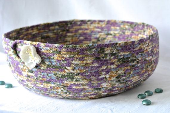 Lavender Violet Basket, Handmade Knitting Yarn Basket, Cat Bed, Dog Pet Furniture, Fabric Basket, Coiled, Quilted Toy Bin, Ivory Floral