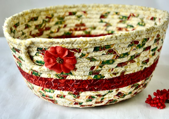 Christmas Holiday Bowl, Christmas Card Basket, Homemade Home Decor, Holiday Decoration, Coiled Rope Basket, Textile Quilted Art
