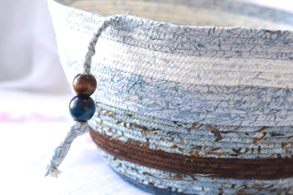 Blue Storage Container, Handmade Bolga Basket, Coiled Rope Basket with handle, Modern Chic Fabric Bin, Textile Art Batik Basket