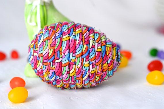 Rainbow Easter Egg, Easter Basket Decoration, Easter Egg Bowl Filler, Egg Ornament, Handmade Easter Spring Decor, Hand Coiled Easter Egg