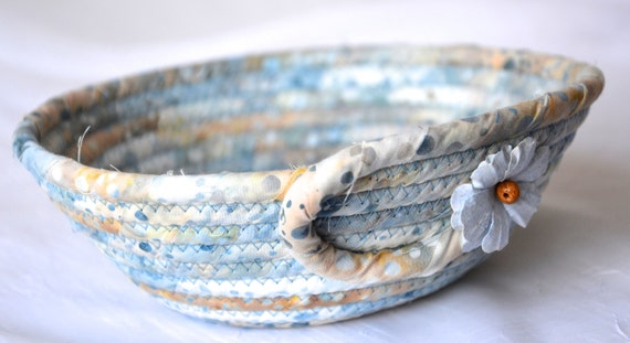 Country Beach Basket, Handmade Blue Artisan Bowl, Candy Dish, Quilted Cotton Basket, Cottage Chic Fabric Bowl, Key Change Bowl