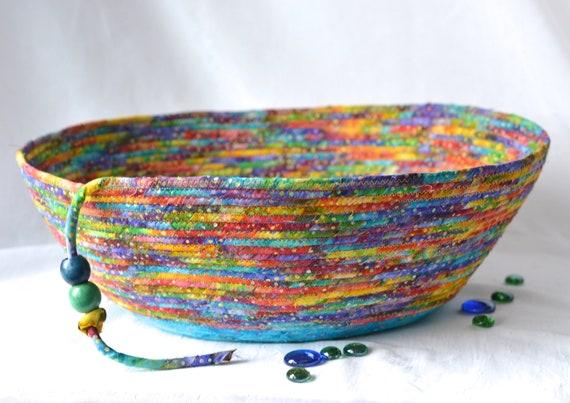 Gorgeous Batik Basket, Handmade Storage Basket, Boho Batik Gift Basket, Cat Furniture, Dog Pet Bed, Magazine Rack, Book Bin, Toy Bin