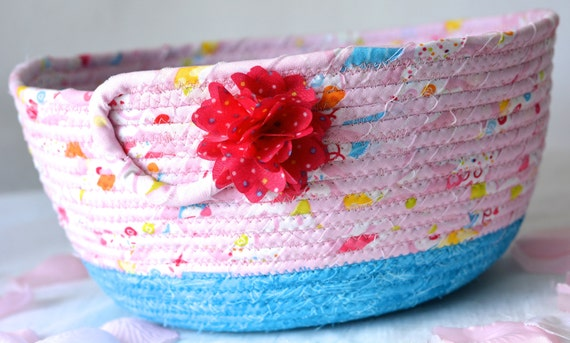 Hair Tie Basket, Handmade Pink Bowl, Cute Floral Bath Basket, Makeup Organizer, Girls Room Decor, Remote Control Bin, coiled fabric basket