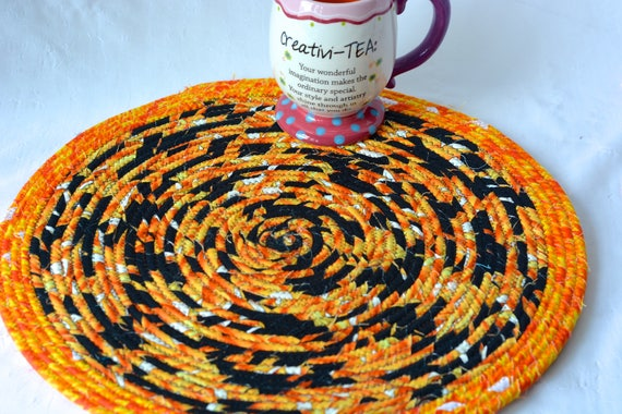 "Halloween Place Mat, 1 Handmade Trivet, 14"" Autumn Place Mat, Potholder, Fall Table Topper, Black Hot Pad, Orange Place Mat, Halloween Decor"