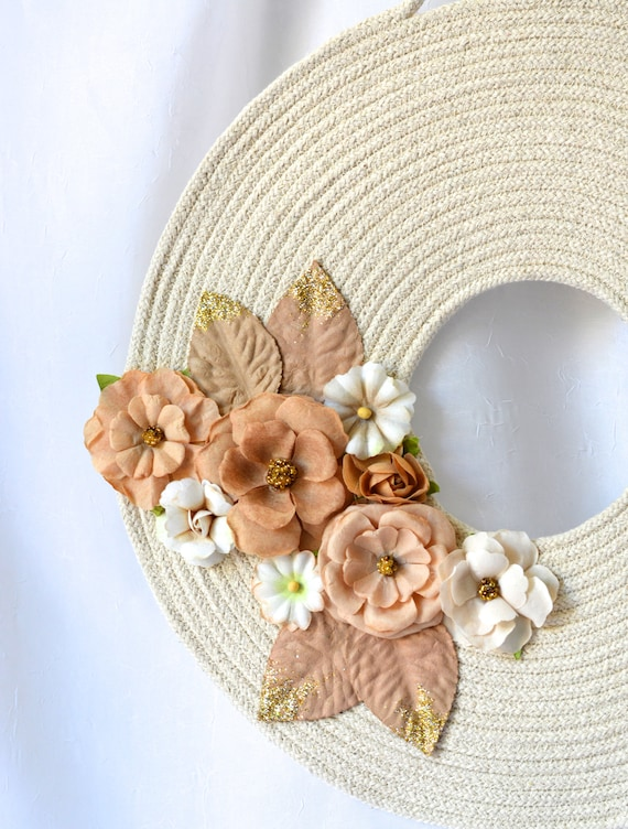 Neutrals Door Wreath, Lovely Wall Hanger, Lovely Floral Wall Art, Country Quilted Rope Wreath, Handmade Home Decor, Modern
