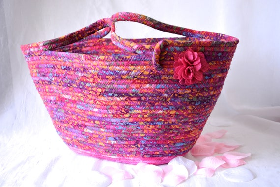 Hot Pink Beach Bag, Tote Bag, Handbag Purse, Handmade Magenta Batik Basket, Laptop Case, Unique Picnic Basket, Coiled Moses Basket