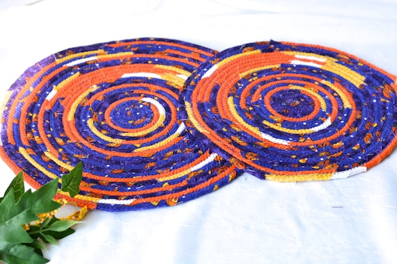 Halloween Place Mats, 2 Handmade Fall Potholders, 2 Fun Hot pads, Purple and Orange Table Topper, Table Runner, Coiled Rope Mats