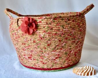 Fall Cranberry Basket, Red Storage Organizer Bin, Handmade Towel Holder, Yarn Basket with handles, Shawl Holder, Shabby Chic Fabric Bin