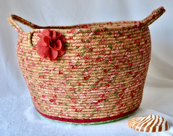 Red Bolga Basket, Yarn Storage Bin, Handmade Textile Art Basket, Designer Basket with handles, Shabby Chic Fabric Bin, Garden Party