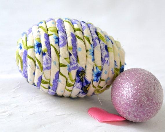 Fabric Easter Egg Ornament, Handmade Lavender Easter Egg Decoration, Floral Bowl Filler, Easter Egg Hunt, Hand Coiled Fiber Easter Egg