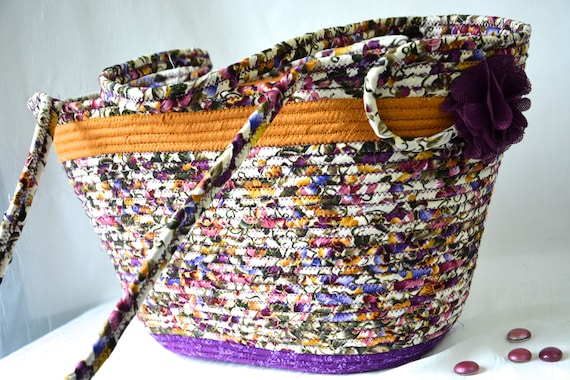 Fall Tote Bag, Handmade Quilted Basket, Modern Storage Container, Laptop Purse Case, Unique  Coiled Rope Basket, Gym Bag, Book Holder,  OOAK