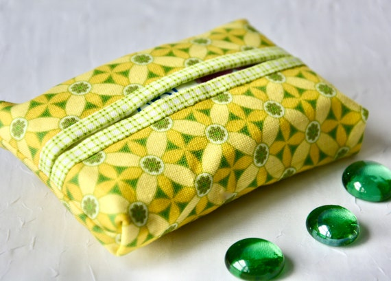 Kleenex Pocket Tissue Holder, Handmade Travel Tissue Case, Lovely Party Favor, Pretty Yellow Purse Accessory, Gift for Girl