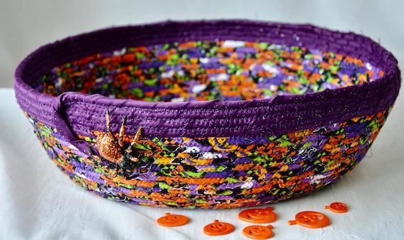 Halloween Candy Bowl, Fun Spider Basket, Handmade Purple Fruit Bowl, Fall Decoration, Candy Bucket,  Fall Bread Basket, Napkin Holder