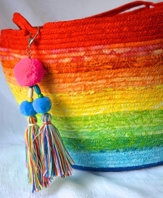Gorgeous Batik Basket, Handmade Rainbow Organizer, Blanket Holder, Pillow Basket, Knitting Project Bag, Textile Art, Stuffed Animal Bin