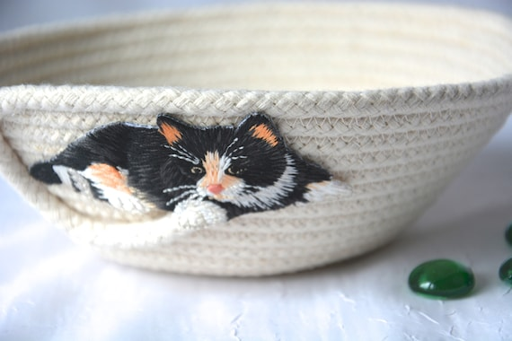 Kitty Ring Dish, Desk Accessory Bowl, Handmade Natural Cotton Basket, Rustic Clothesline Basket, Cute Candy Dish, Coiled natural rope basket