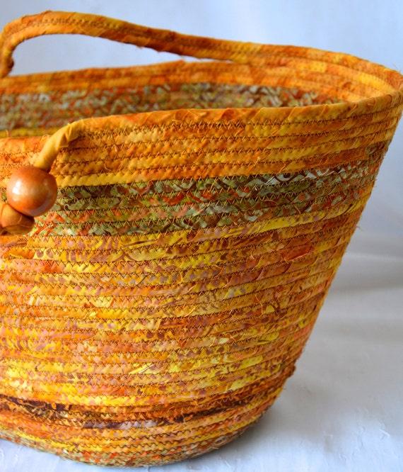 Tan Tote Bag, Handmade Batik Fabric Basket, Farm Picnic Basket, Laptop Purse Case, Unique Blanket Basket, Textile Art OOAK