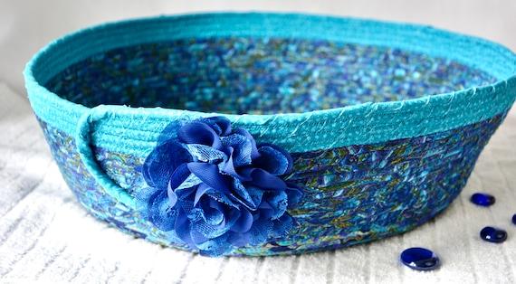Blue Fabric Basket, Handmade Quilted Basket, Storage Organizer, Pillow Bin, Yarn Holder, Paper Recycle Bin, Magazine or Shoe Rack