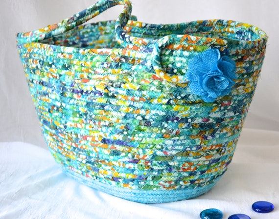 Blue Tote Bag, Handmade Picnic Basket, Lovely Batik Handbag, Blanket Bag, Laptop Purse Case, Unique Coiled Basket, Knitting Project Bag