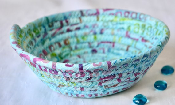 Boho Aqua Basket, Handmade Batik Bowl, Cute Candy Dish, Quilted Cotton Basket, Boho Chic Fabric Bowl, Key Change Bowl