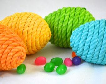Easter Egg Ornaments, 4 Handmade Easter Eggs, Spring Decoration, Bowl Filler, Easter Egg Hunt, 4 Hand Coiled Fabric Easter Eggs