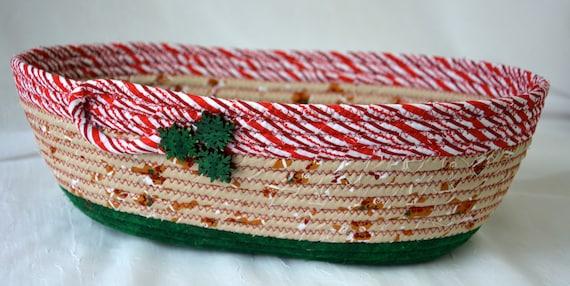 Gingerbread Man Christmas Basket, Handmade Holiday Card Basket, Decorative Christmas Bowl, Holiday Decoration, Fruit Bowl, Mail Holder