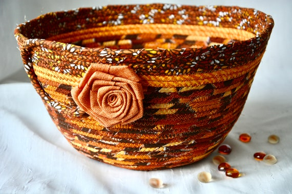 Thanksgiving Napkin Basket, Fall Foliage Home Decor Bowl, Festive Gift Basket, Handmade Bread Basket, Mail Holder, Fruit Bowl, Autumn Decor