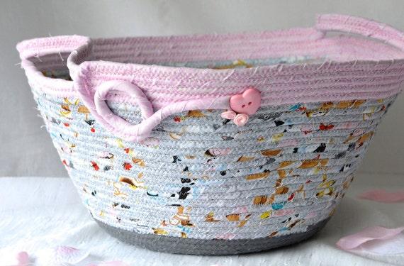 Girl Nursery Basket, Handmade Toy Storage Organizer Bin, Cute Baby Room Home Decor, Gray and Pink Fabric Basket, Diaper Holder