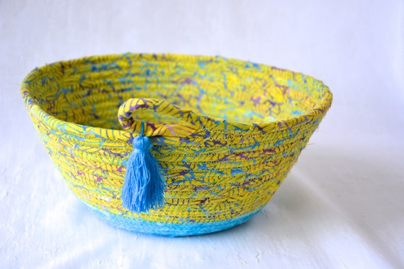 Unique Blue Basket, Textile Art Bowl, Handmade Batik Basket, Decorative Rope Basket, Lovely Fruit Bowl, Yarn Bowl, Napkin or Bread Holder