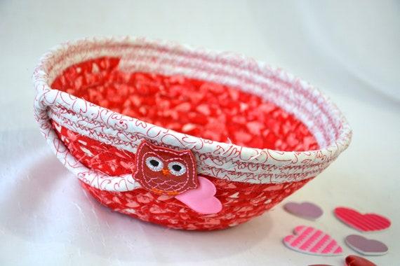 Valentine's Day Bowl, Handmade Heart Owl Basket, Red Party Favor, Gift Basket, Cute Heart Key Holder, Pink Heart Decorative Bowl