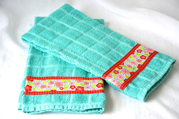 Turquoise Hand Towel, Summer Home Decor, 2 Hand Decorated Kitchen Towels, Set of Two Cotton Aqua and Red Tea Towels, Aqua Dish Cloths