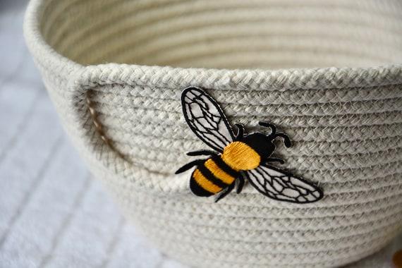 Honey Bee Basket, Neutrals Rope Bowl, Handmade Minimalist Basket, Fruit Bowl, Quilted Napkin Holder, Farmhouse Home Decor, Desk Accessory