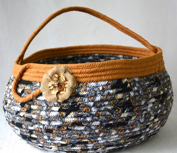Abstract Bolga Basket, Handmade Textile Art Basket, Fall Coiled Rope Basket with handle, Black Fabric Bin, Storage Container