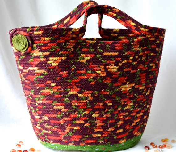 Fall Fabric Basket, Foliage Tote Bag, Purse, Handmade Storage Basket, Lovely Coiled Rope Basket, Laptop Holder, Autumn Decoration