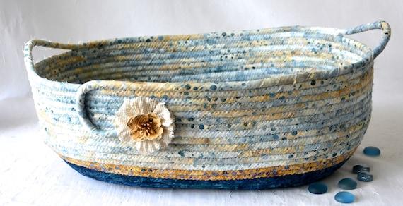 Blue Bath Decor Handmade Textile Art Basket, Coiled Rope Basket with handles, Farmhouse Fabric Bin, Beach Cottage Chic Basket
