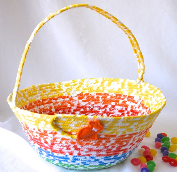 Rainbow Easter Basket, Handmade Kid's Easter Bucket, Cute Baby Boy Toy Bin, Easter Egg Hunt Bag, Boy Easter Bucket