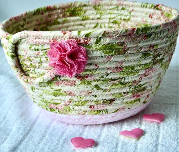 Shabby Chic Basket, Pink Floral Decoration, Pretty Fabric Basket, Handmade Key Bowl, Napkin Holder, Fruit Bowl, Remote Holder