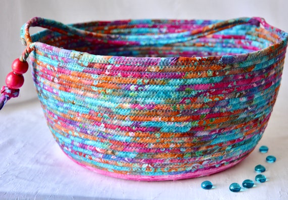 Gorgeous Bolga Basket, Knitting Project Bin, Handmade Textile Art Basket, Pink Batik Rope Basket with handle, Yarn Holder Bin