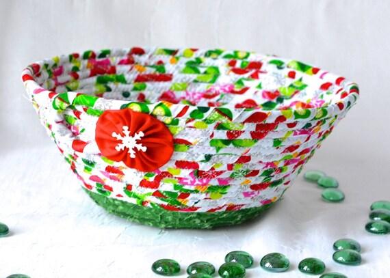 Christmas Decoration, Handmade Holiday Card Basket, Decorative Christmas Bowl, Homemade Napkin Basket, Coiled Rope Bowl