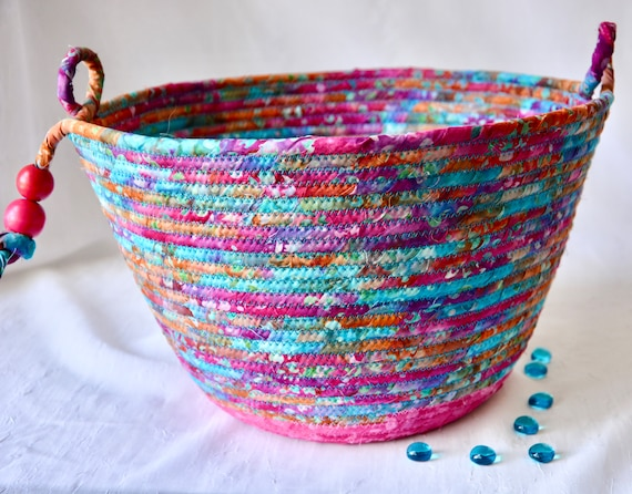 Pink Batik Basket, Handmade Bread Basket, Brush Holder, Unique Fabric Basket, Fruit Bowl, Magenta Napkin Basket