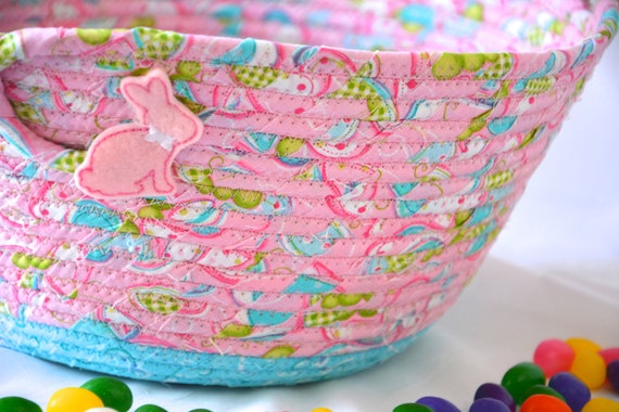 Baby Easter Basket, Handmade Pink Easter Bucket, Flower Girl Basket, Cute Girl Room Decor, Diaper Bin, Handled Basket, Free Name Tag